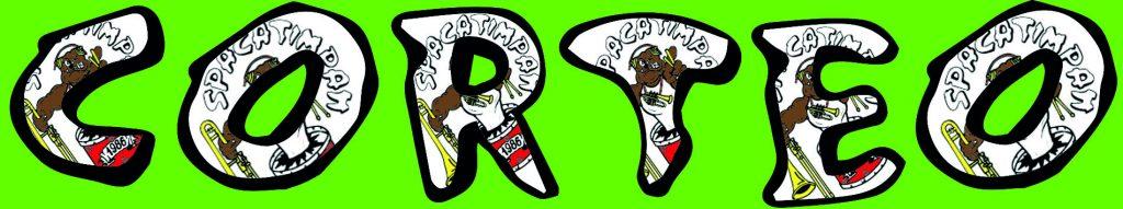 si tratta di un immagine con la scritta corteo, con il carattere della Spacatimpan, su sfondo verde e con il logo che si percepisce nella scritta.