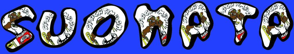 si tratta di un immagine con la scritta suonata, con il carattere della Spacatimpan, su sfondo blu e con il logo che si percepisce nella scritta.